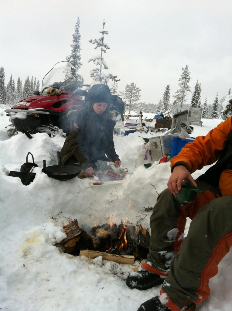 Reindeer burgers cooked on a roaring fire - not bad for lunch on the trail.