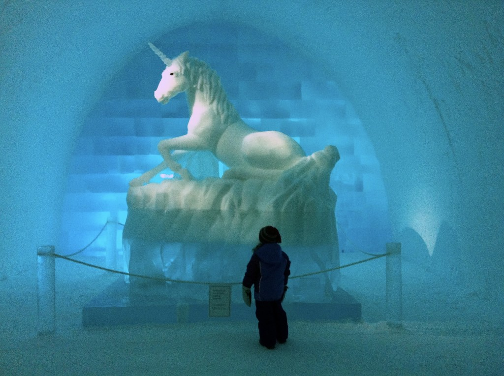 Halina loved this unicorn made of snow and ice, and the entire hotel was filled with the most incredible ice art.
