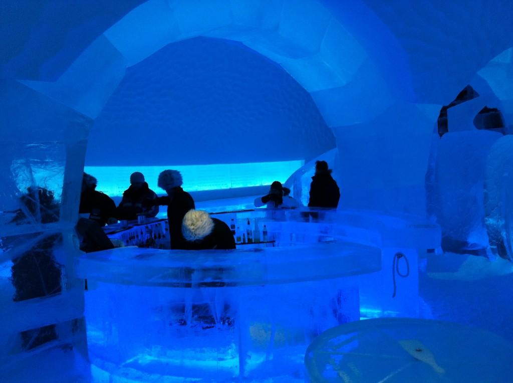The bar at the Ice Hotel. Yes, everything is made of ice!