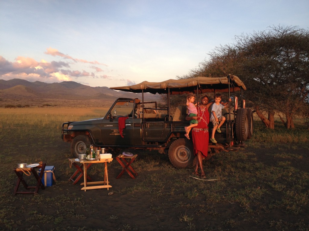 A picnic dinner in the Chyulu Hills.