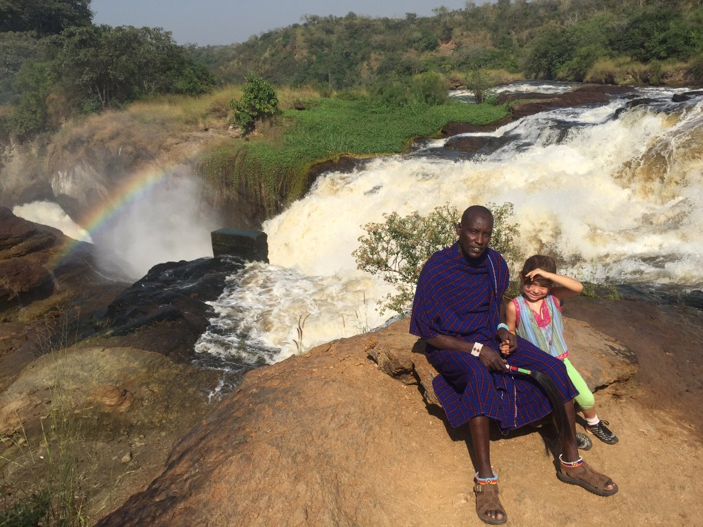 Solomon and Halina at the top of the falls - the first trip to Uganda for both of them!